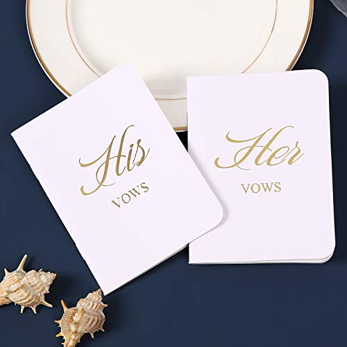 AKITSUMA Vow Books, Set of 2, His and Her Vow Books with Gold Metal Words, Wedding Vows Booklet, Wedding Keepsake, Gift for Wedding (White)