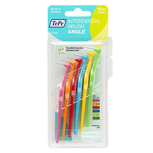 TePe Brossettes interdentaires Angle - Idéal pour le nettoyage des espaces interdentaires des molaires - 2 x 6 brossettes de diamètres variés - Une couleur par diamètre