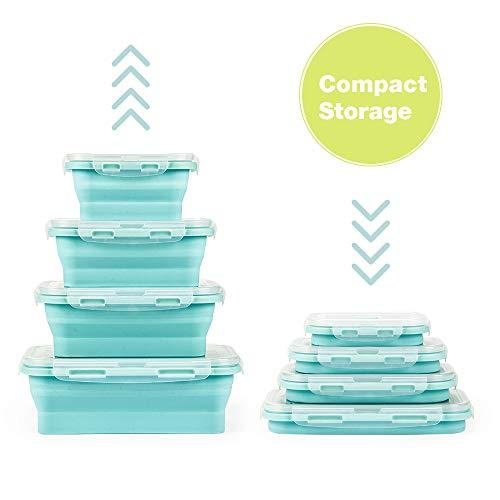 Faltbare Frischhalteboxen 4 PCS Faltbare Frischhaltedosen Brotdosen aus Silikon Faltbare Silikon Brotbox Silikon Frischhaltedosen Faltbare Silikon Brotbox Faltbare frischhaltedosen Set(B2- HelleFarbe)