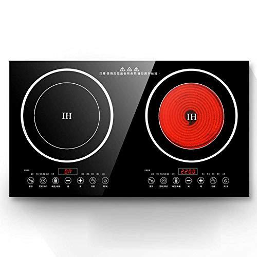 OUKANING Placa de inducción eléctrica doble de 4400 W, 2 quemadores, 8 velocidades, potencia de fuego, 220 V (estilo 2)