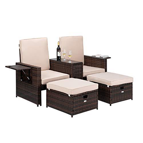 VINGLI 5 PCS Patio Wicker Loveseat Outdoor Patio Adjustable Lounge Chair with Ottoman, Patio Conversation Set Outdoor Rattan Sofa Set for Garden, Patio, Balcony (Brown)