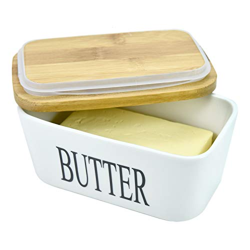 WEFOO Large Butter Dish, Airtight Butter Keeper Butter Conteriner, Porcelain Butter Keeper Container with Bamboo Lid & Seal Ring 22 oz (650ml)