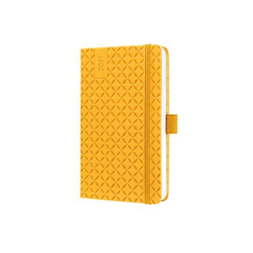 SIGEL J1116 Terminplaner Wochenkalender Jolie 2021, ca. A6, gelb, mit fröhlichem Kalendarium, vielen Infos und praktischen Stickern - weitere Modelle