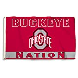 BSI NCAA College Ohio State Buckeyes 'Buckeye Nation' 3 X 5 Foot Flag with Grommets