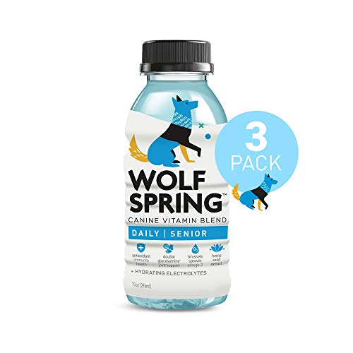 Wolf Spring All-Natural Functional Treat for Senior Dogs, 100% Plant-Based Dog Multi-Vitamin Drink, Joint Supplements for Dogs with Electrolytes Water, Dog Immunity Support, 10oz, Vitamin Pack of 3