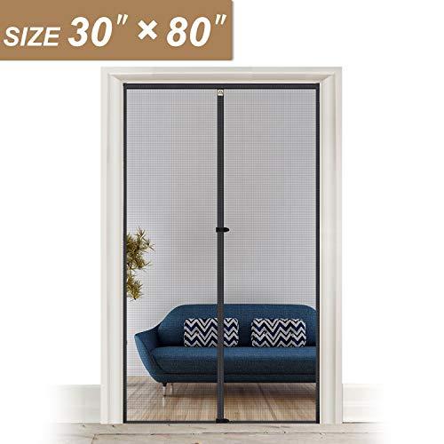 """Fiberglass Magnetic Screen Door Fits Door Size 30 x 80, Heavy Duty for Entry Front Door Size 30""""W x 80""""H with Full Frame Hook&Loop Strip"""