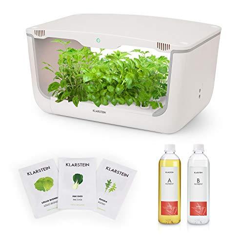 Klarstein GrowIt Farm Starter Kit III Smart Indoor garden Set - 16+12 boutures, Réservoir d'eau de 8 L, Eclairage à spectre complet de 48 W, Solution nutritive Nutri-Kit, Semences pour salade
