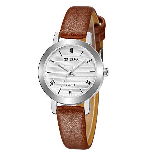 Armbanduhr Einzigartiges Design Damenmode Uhr Ultradünn, Frauen Retro Quarz Analoges Lederarmband Damenarmbanduhr 2019 Neu LEEDY