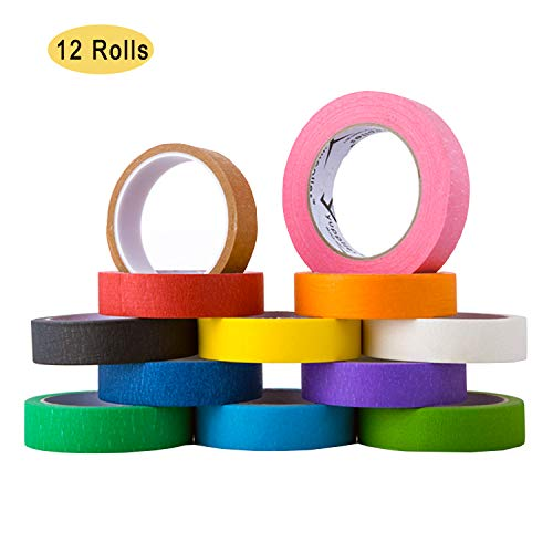 NEPAK Washi Tape Set 12 rollos 25mm x 13m, Decorativo de Washi Tape Arco Iris Rollos de Papel Para Manualidades Diy