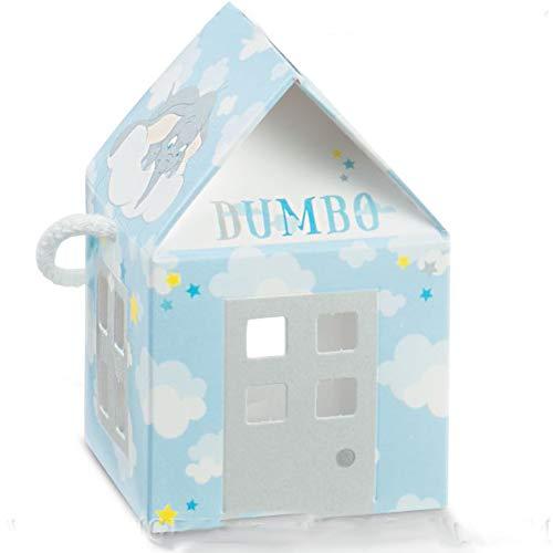 Ingrosso e Risparmio 10 Scatoline portaconfetti a Forma di casetta di Dumbo in cartoncino Azzurro, firmate Disney, Idee economiche bomboniere Nascita Bambino (Senza confezionamento)