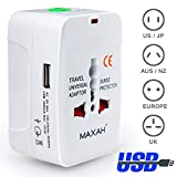 MAXAH Universal Plug Travel Adapter Worldwide Plug Converter Adaptor All in One Wall Charger with 1 USB Works...