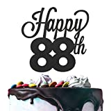 LINGTEER Happy 88th Birthday Black Cake Topper Perfect for Cheers to 88 Years Old Birthday Party Gift Decorations Sign.