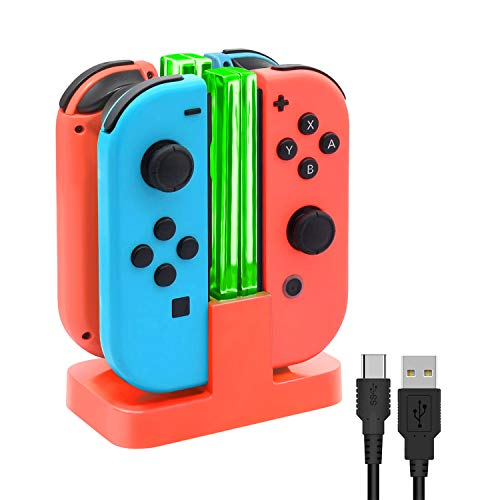 FYOUNG - Base de carga para Nintendo Switch Joy-Con, cargador Joycons con cable de carga USB tipo C - rojo