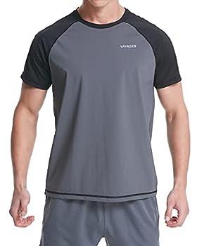 VAYAGER Men s Swim Shirts UPF 50+ Short Sleeve Quick Drying Rashguard Crew Shirt Gray XXXL