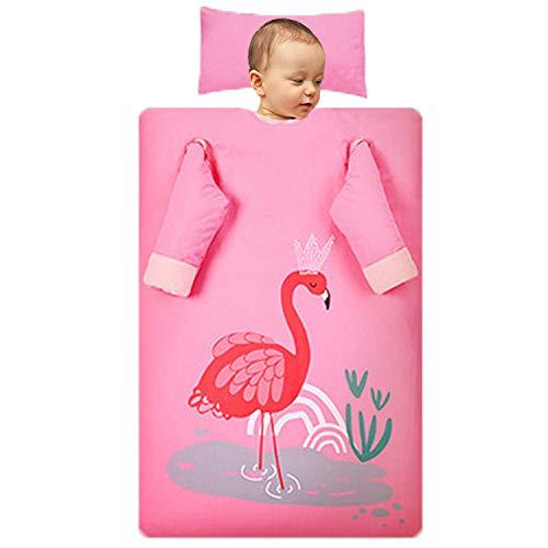 Dicke Baumwoll-Kinderschlafsack, Cartoon-Flamingo, Abnehmbare Ärmel Und Innere Liner, Multifunktionales Baby Anti-Kick-Quilt-Nickerchen Schlafsack,Thick