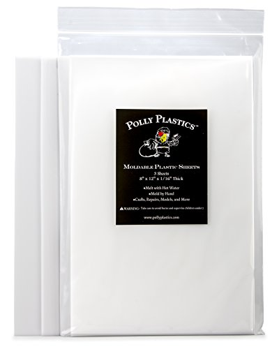 Polly Plastics Heat Moldable Plastic Sheets   8-inch x 12-inch x 1/16-inch   for Cosplay, Crafting and Art Projects   Paintable (3 Sheets)