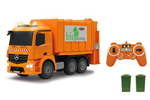 JAMARA 405079 - Müllwagen Mercedes Antos 1:20 2,4G - Hochfahren der Mülltonne, einziehen des Müllgutes, 2 Rundleuchten auf dem Dach, Blinker, Licht vorne und hinten, 4 Radantrieb, Gummireifen