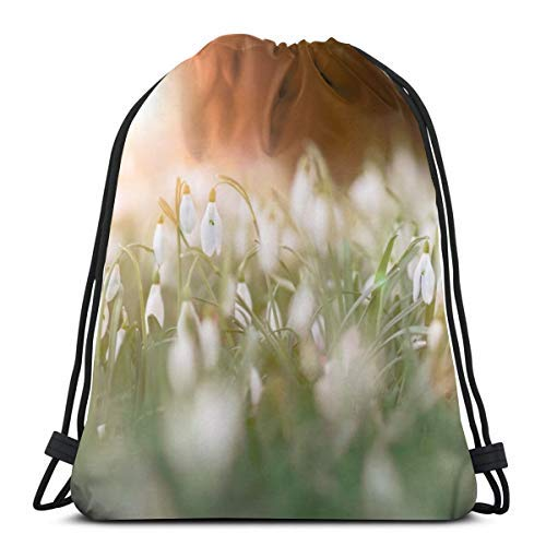 XCNGG Bundle Backpack Outdoor Shopping Knapsack Grass in The Sunset Rope-Pulling Bag Sports Bag Suitable for Fitness Shopping and Yoga