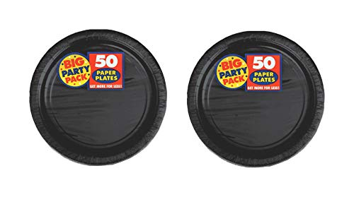 Dessert Paper Plates 7' Inches (2 Big Party Packs of 50) (Black)