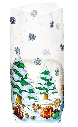 Ursus 6120000 - Geschenk Bodenbeutel, Weihnachten, 10 Stück, aus lebensmittelechter Folie, ca. 14,5 x 23,5 cm, transparent, bedruckt, ideal für kleine Überraschungen