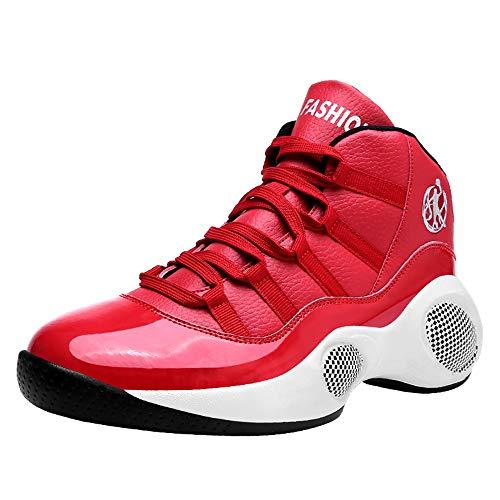 CXQWAN Chaussures de Sport pour Hommes, High Top Basketball Chaussures de Marche Chaussures de Course Haut Elasticité Non-Slip Convient pour Venues en Plastique intérieur et extérieur,Rouge,44