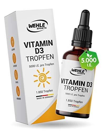 Vitamin D3 Laborgeprüfte 5000 IE pro Tropfen hochdosiert Vergleichs-Sieger 2019/2020 - Hoch bioverfügbares Vitamin D flüssig 50ml (1850 Tropfen) - In MCT-Öl aus Kokos