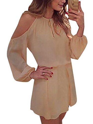 YOINS Sommerkleid Damen Kurz Schulterfrei Kleid Elegante Kleider für Damen Strandmode Langarm Neckholder A Linie Beige EU40-42(Kleiner als Reguläre Größe)