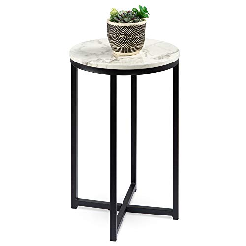 Best Choice Products 16in Side Table, Faux Marble Round End Table, Modern Small Accent Home Decor for Living Room, Dining Room, Tea, Coffee w/Metal Frame, Foot Caps, Designer - White/Chrome