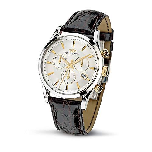 Philip Watch Orologio da uomo, Collezione Sunray, movimento al quarzo, cronografo, in cuoio e acciaio - R8271908002