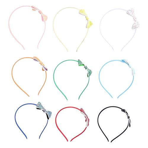 Lurrose 9pcs Glitter Bow Diadema grande colorido lentejuelas bowknot pelo aro con...