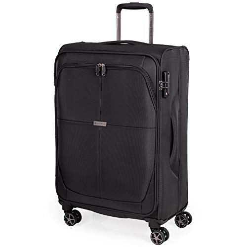 Soft Shell 26 Inch Suitcase with x8 Spinner Wheels - Soft Case by Gino Ferrari | Durable & Quality Tested Soft Sided Luggage | Light 2.6 Kg 67cm 56.2 litres Capacity (Black, Medium)