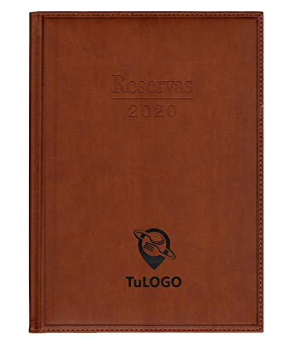 Libro de Reserva Restaurante 2020. 2 pag/día. Grabado Negro con su Nombre o Logo.Todo Incluido. SimilPiel