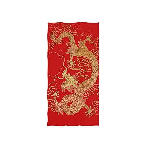 MNSRUU Handtuch, chinesischer goldfarbener Drache, weiches Badetuch, für das Hotel, Spa, Sport, 76 x 38 cm