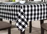COTTON CRAFT Countryside Pure Cotton Buffalo Check Gingham Tablecloth, 60 x 120 inch, Black
