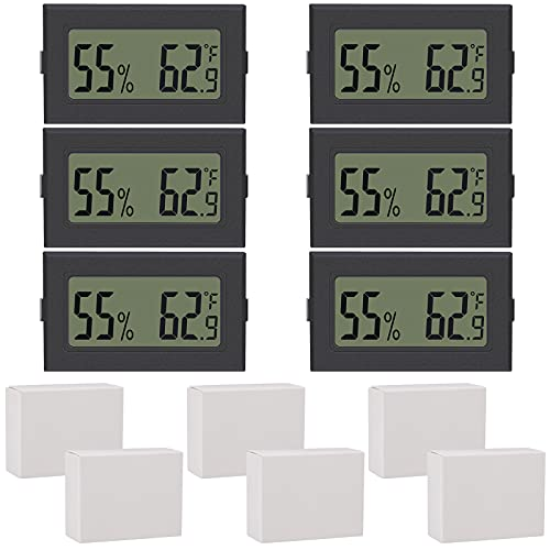 Elcoho 6 Pack Mini Hygrometer Thermometer Small Digital Electronic Temperature Humidity Meters...
