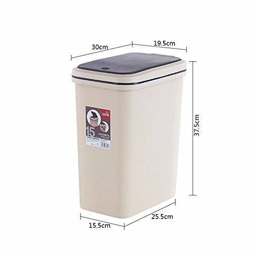 Xiuxiutian Bacs à ordures extérieurs Appuyez sur Le ménage Poubelle Poubelle Guest Chambre Cuisine Toilettes Grandes, 15L