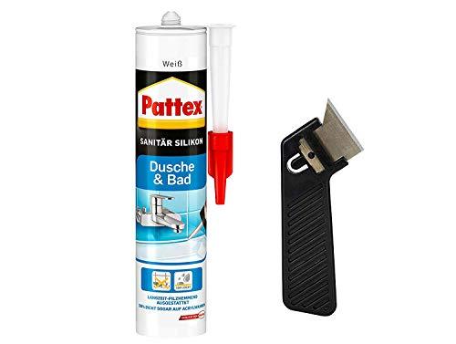 """Pattex Silikon Dusche & Bad, weiß, Premium-Silikon für alle Anwendungen im Sanitärbereich, elastisch, abriebfest, Spar-Set mit 300 ml und einem Fugenkratzer """"Pattex Fugenhai"""", 9HPFDBWP1X"""