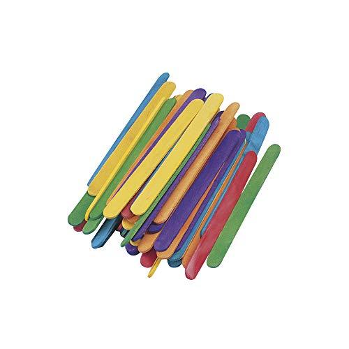 Rayher 6121749 Bastelhölzer, 110 mm x 11 mm, 72 Stück, bunt gemischt, Holzspatel zum Basteln, Holzstiele farbig