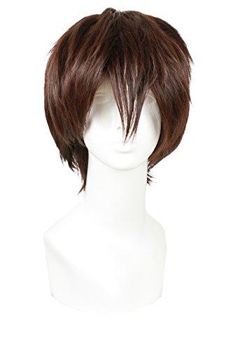 ROLECOS Okumura Yukio Cosplay Wig Mens Short Straight Fluffy Hair Wigs Dark Brown