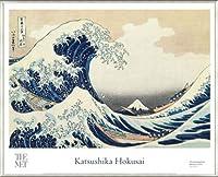 ポスター ホクサイ The Great Wave 富嶽三十六景・神奈川沖波裏 額装品 アルミ製ベーシックフレーム(ライトブロンズ)
