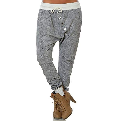 Shujin Damen Jogginghose mit Knopfleiste Haremshose Frauen Boyfriend Chino Stoffhose Sweatpants Baggy Freizeithose Trainingshose Loose Fit Jogger