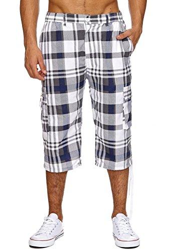 ArizonaShopping Max Men Herren Bermuda Cargo Shorts 3 4 Freizeit Hose Kariert, Farben:Hellblau, Größe Shorts:XXL