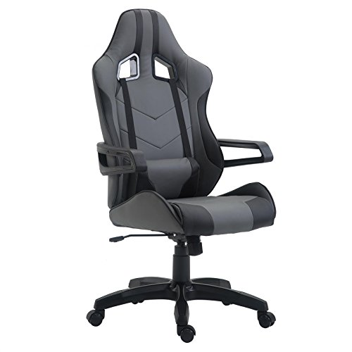 CARO-Möbel Gaming Drehstuhl Play Lederimitat in grau/schwarz Bürostuhl PC Schreibtischstuhl Chefsessel Racer, höhenverstellbar Wippmechanik