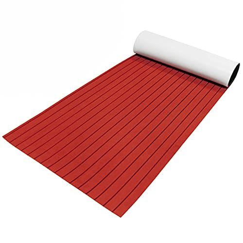Tablero de madera de teca, 240 x 90 cm, espuma EVA, autoadhesivo, mate, para yates (líneas rojas con negras)