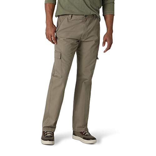 Wrangler Authentics Men's Classic Twill Relaxed Fit Cargo Pant, Military Khaki Ripstop, 34W x 32L