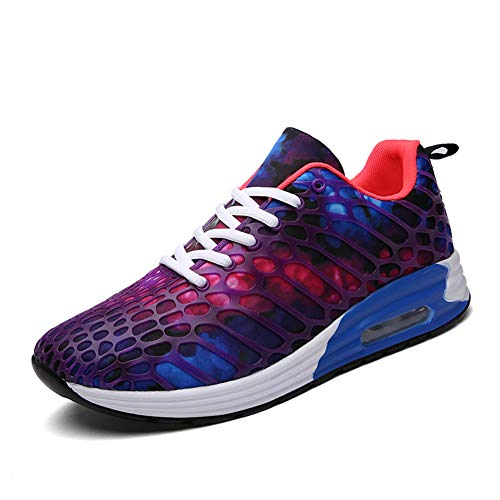 [ZHENGSHENG] ランニングシューズ レディース メンズ スニーカー レースアップ 運動靴 スポーツ ジョギングシューズ カラフルな 紫 白 K58 パープル 22.5cm