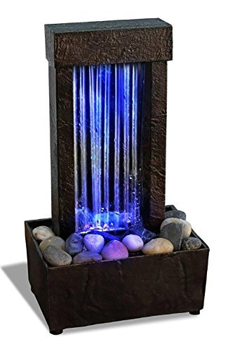 """Newport coast collection Nature's Mark 10"""" H Mirrored Waterfall Light Show Tabletop Water Fountain with Natural River Rocks and Color Changing LED Lights (Power Cord Attached)"""