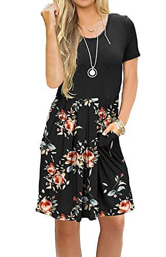 AUSELILY Damen Kurzarm Plissee Loose Swing Freizeitkleid mit Taschen Knielang(Schwarze Rose Schwarz,40-42)