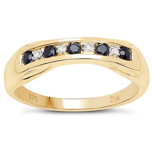 De Diamond Ring Collectie: 9Ct Geel Goud Saffier en Diamant 6 mm Kanaalset, Verlovingsring, Eeuwigheidsring, Moederdag, Jubileum, Cadeau, Ringgrootte 9,10,11,12,13,15,16,17,19,24,20,15,6,21,22