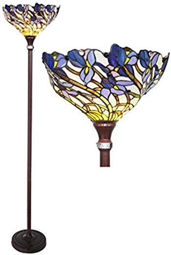 ✅Chloe CH1701B-TF 1 Light Tiffany-Style Iris Torchiere Floor Lamp 17″ Shade, Multi-Colored #Lighting & Ceiling Fans